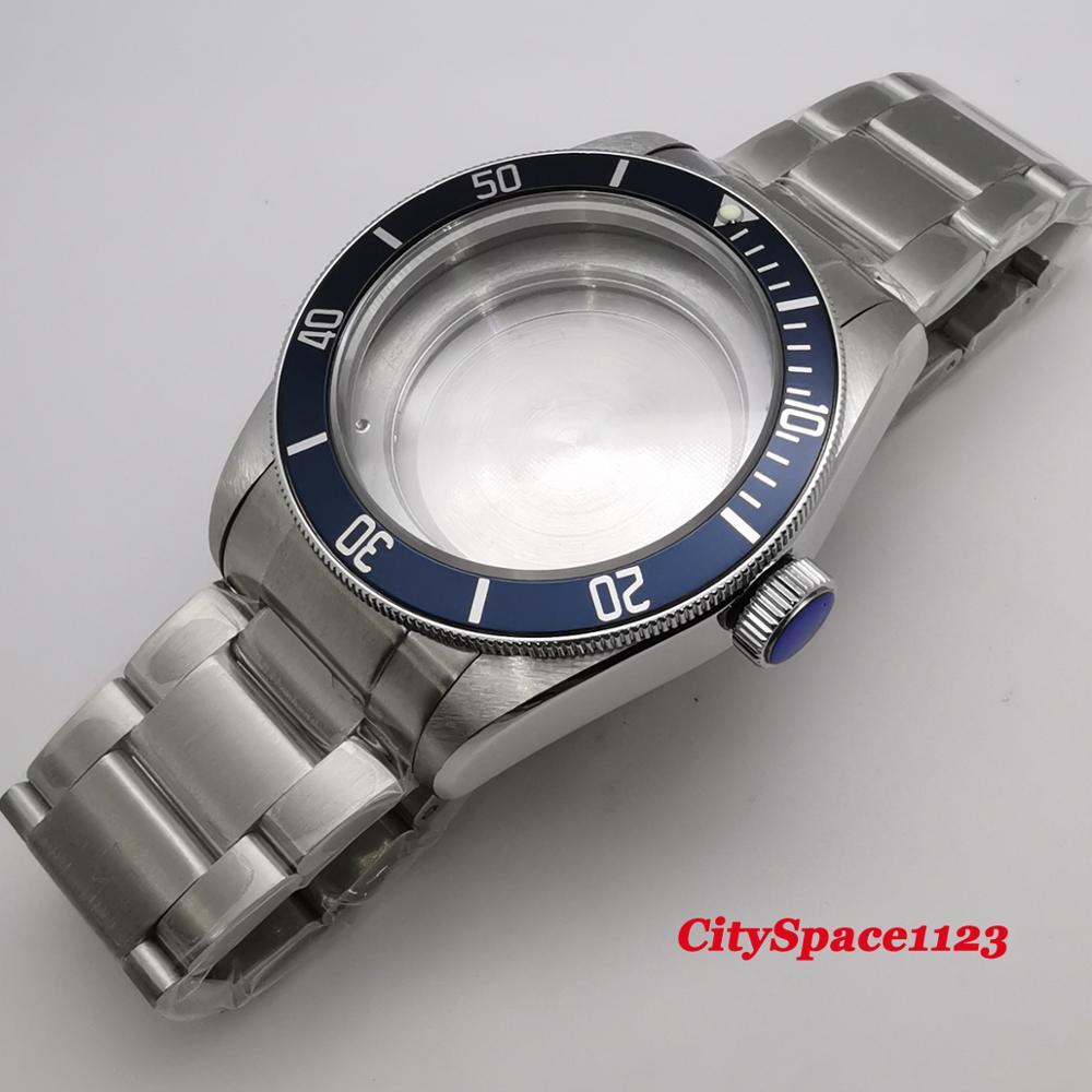 Corgeut-حافظة ساعة بإطار أزرق ، 41 مللي متر ، حزام 22 مللي متر ، زجاج ياقوتي ، مناسب لـ ETA 2836 Miyota 8215 ST1612 ، ساعة حركة