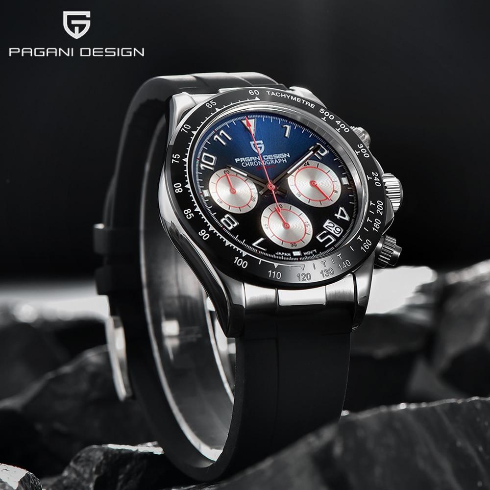 Часы наручные PAGANI Мужские кварцевые, простые модные водонепроницаемые с сапфировым стеклом 40 мм, из нержавеющей стали, с календарем и ночни...