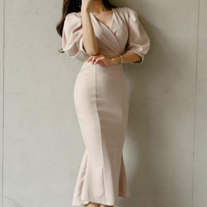 Vestido con mangas Puff y escote triangular, prenda femenina elegante de fiesta coreana, con cuello de pico, Talle alto y monocolor, 2020