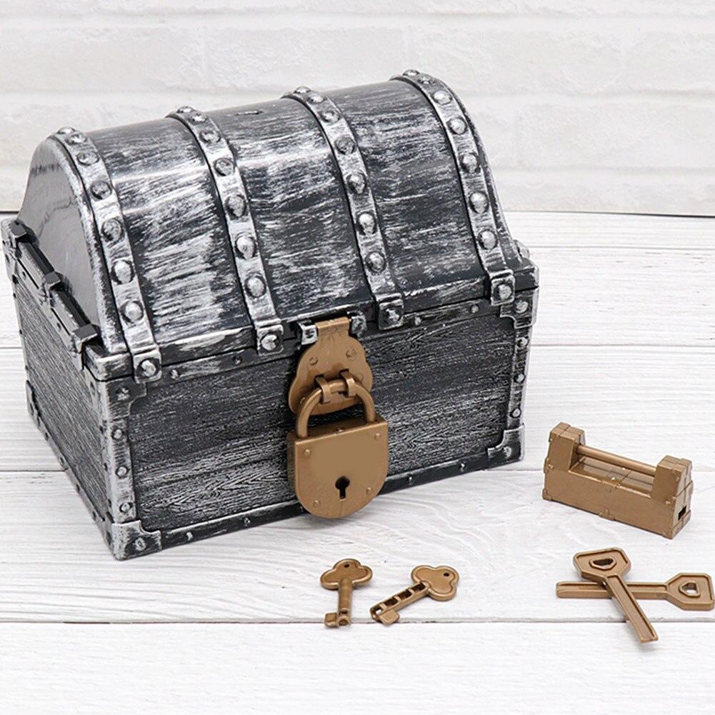 Caja de almacenamiento de monedas dorada Cofre del Tesoro pirata Vintage baratija juguetes para niños regalo gemas soporte aprendizaje temprano con llaves