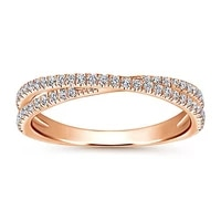 ustar crossing x rings for women fashion jewelry full shiny cubic zirconia rose gold finger engagement rings female anel gifts