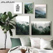 JHLJIAJUN dağ sisli orman resim doğa manzara Poster Nordic dekorasyon manzara baskı duvar sanatı tuval yağlıboya