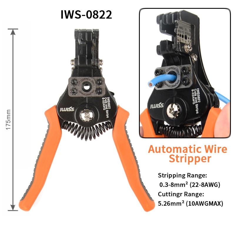 IWS-0822/HS-700B التلقائي تجريد كماشة سلك متجرد متعددة الوظائف كهربائي سلك كابل القاطع متعددة الوظائف أداة