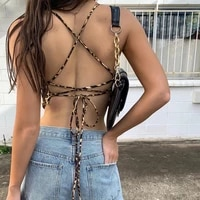 2021 cross bandage sleeveless sexy camis tops summer leopard printed backless crop top streetwear fashion tops tees party