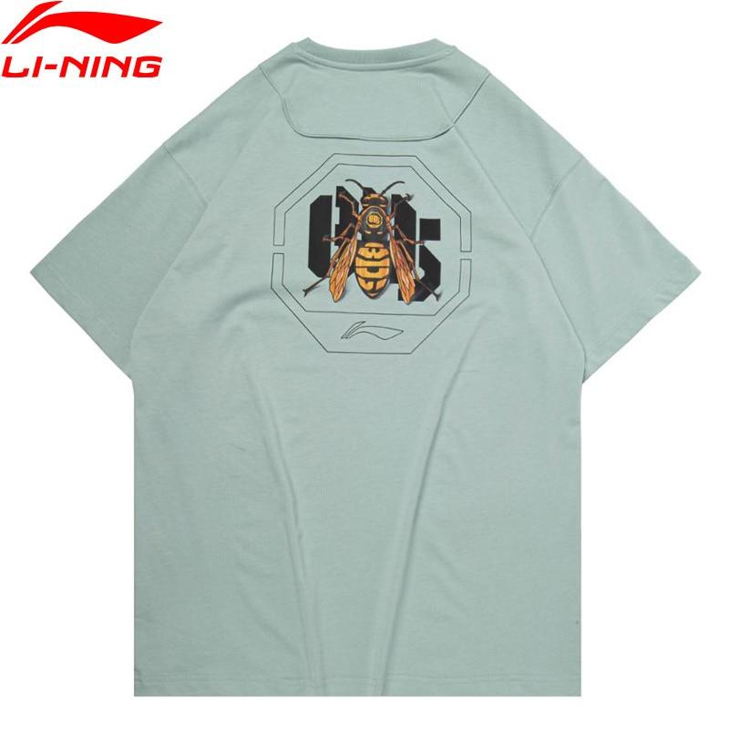Li-Ning-تيشيرت كرة السلة للرجال من سلسلة BADFIVE ، قطن فضفاض ، مسامي ، مع بطانة رياضية ، جرافيك ، AHSQ307
