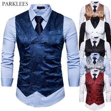 Hommes Gentleman formel coupe étroite Double boutonnage robe costume gilets 2018 mode Paisley imprimer hommes gilet gilet Colete Masculino