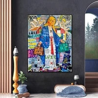 graffiti art van virgin mary oil painting on canvas print poster wall picture for living room home decoration frameless