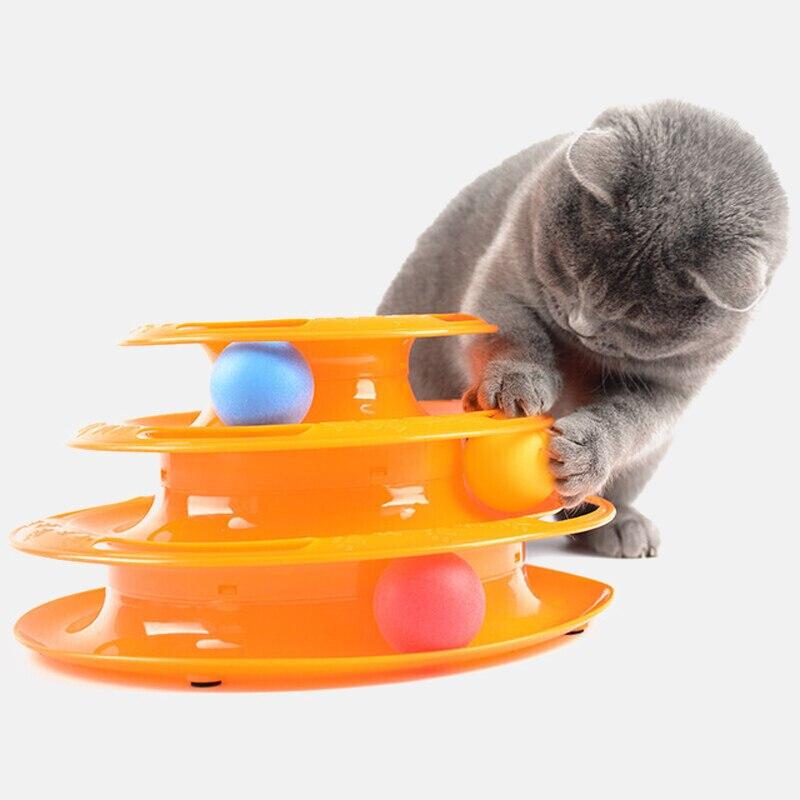 Три уровня игрушка для питомца кота башня треки диск кошка интеллект развлечения тройной диск игрушки для кошки мяч тренировка развлечение тарелка котенок