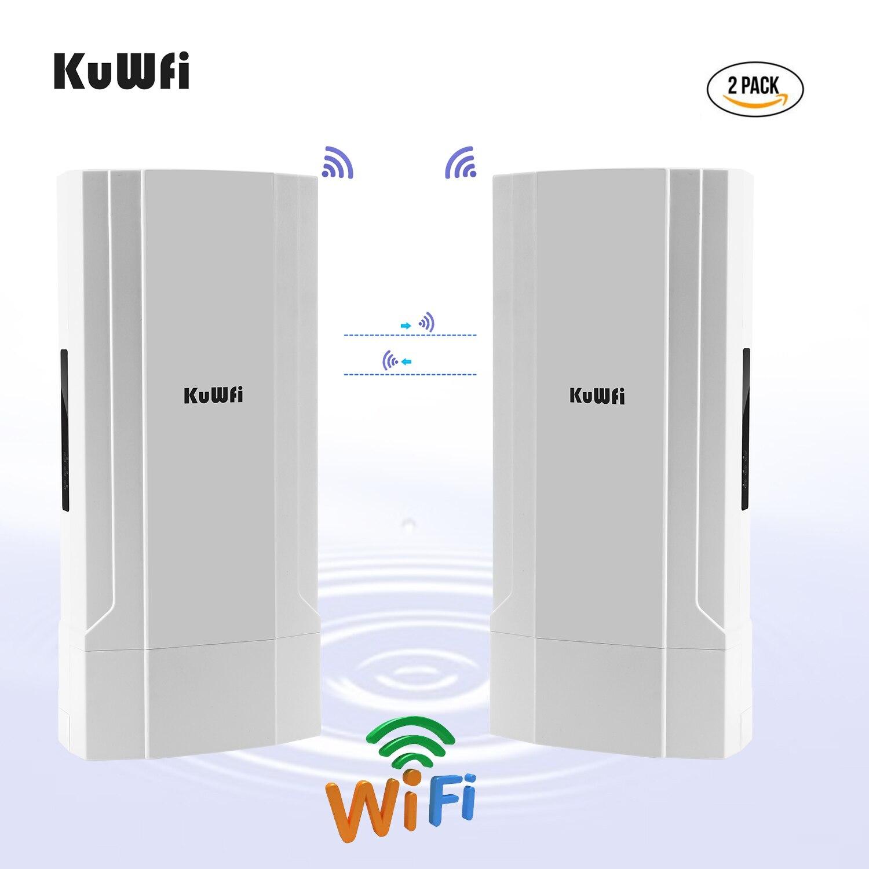 KuWFi 2 paquetes al aire libre 5KM Punto a Punto puente inalámbrico de alta potencia punto de acceso inalámbrico 1200Mbps 2,4 y 5,8G extensor WiFi repetidor