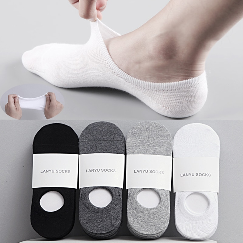 5Pair / Lot Fashion Happy Men Boat Socks Summer Autumn Non-slip Silicone Invisible Cotton Socks Male Ankle Sock Slippers Meia
