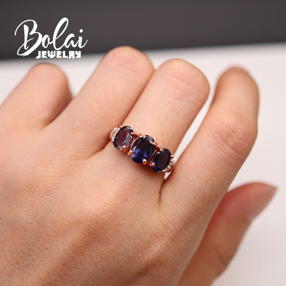 2021 New Natural Iolite gemstone ring earring jewelry set contracted fashion suits daily wear female Fine jewelry