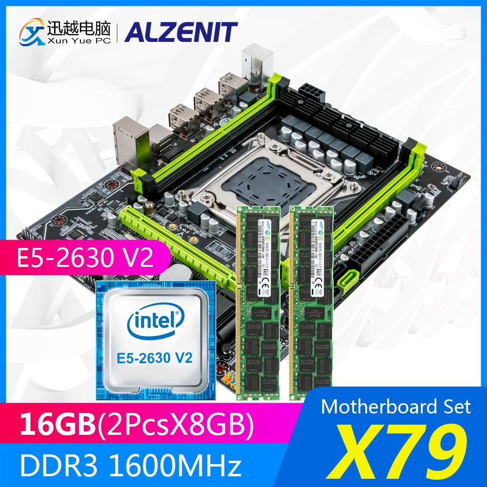 ALZENIT X79 placa base de X79M-CE5 MATX con Intel Xeon E5-2630 V2 2,6 GHz CPU 2*8GB (16GB) DDR3 1600MHz ECC/REG RAM