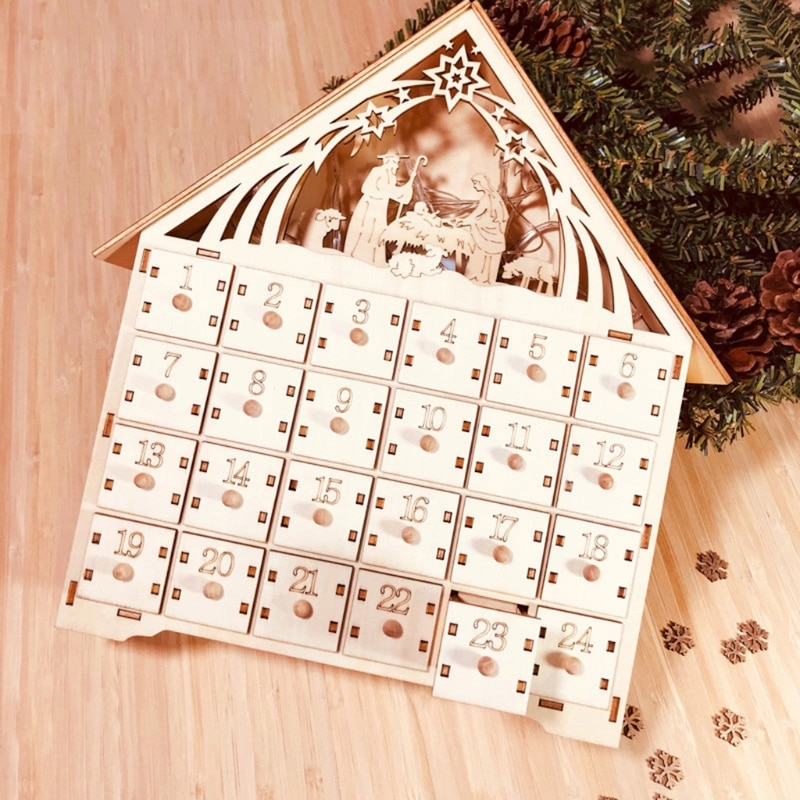 Basswood Advent DIY Calendar with 4 Watercolor Pen 24 Pull-out Drawers Christmas