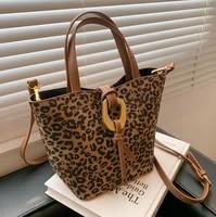 european and american popular leopard print women 2021new ladies casual large capacity messenger bag fashion portable bucket bag