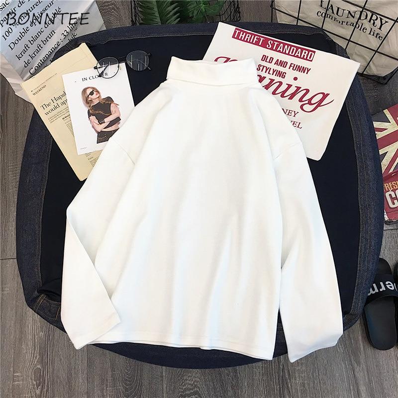 Camisetas femininas 2020 primavera outono na moda womens streetwear solto de mangas compridas fino estilo coreano lazer macio all-match cothing