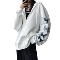 hirigin women harajuku hoodies with drawstring hooded cardigan adults butterfly letter print long sleeve sweatshirt streetwear
