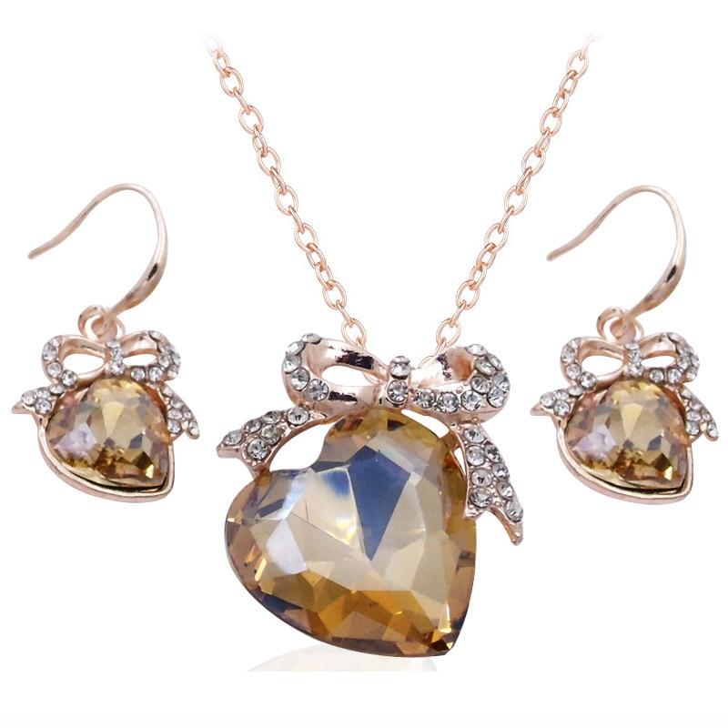 DSHOU105-طقم مجوهرات نسائي من الكريستال والزركون مع فيونكة رومانسية ، وقلادة وأقراط ، وقلادة ، وقلب ، وهدية زفاف