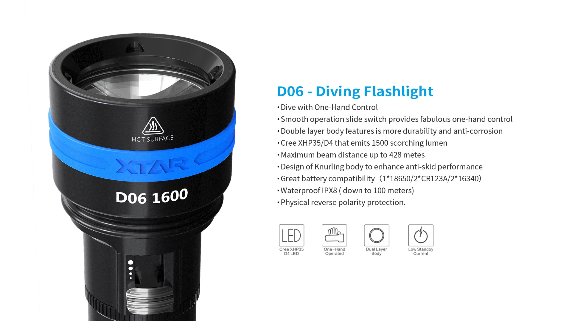 Original XTAR D06 1600 Diving Flashlight CREE XHP35 D4 Max 1600 Lumen Max 430meter Magnetic Switch Torch 100 Meter Diving Depth enlarge