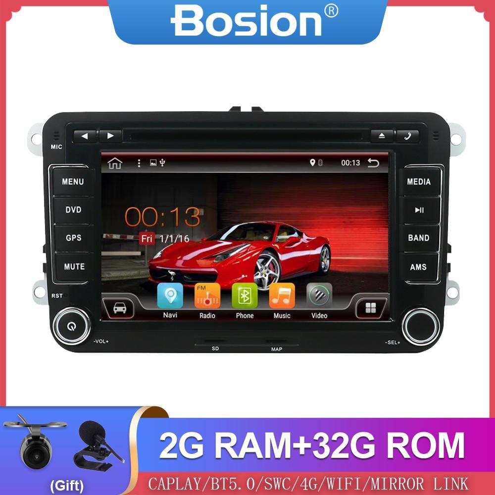 Bosion 2 din android 10 multimídia player automotivo, dvd para volkswagen/golf/polo/tiguan/passat/b7/b6/seat/leon/skoda/octavia gps