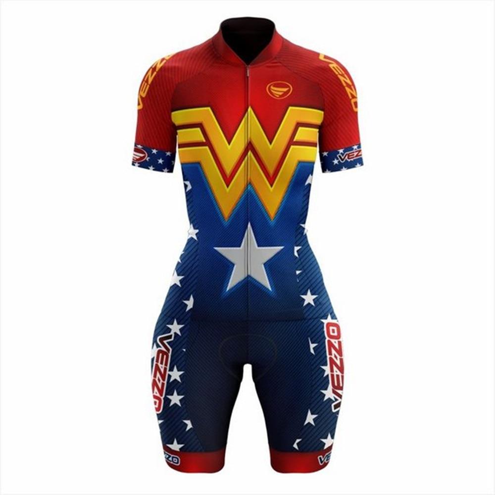 VEZZO wonder femmes combinaison à manches courtes triathlon costume aero tri costume cyclisme combinaison ropa ciclismo maillot mujer cyclisme kits
