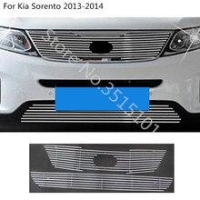 Détecteur de voiture corps en métal plaque dimmatriculation garniture course Grille Grille Grille capots panneau cadre moulage pièces pour Kia Sorento 2013 2014