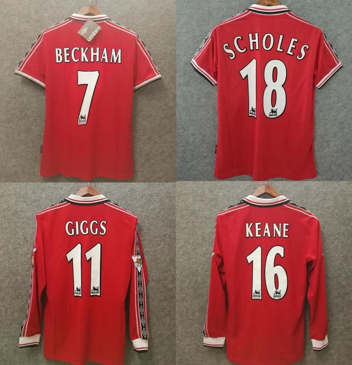 1999 retro beckham scholes keane giggs cole solskjaer yorke camiseta manchester camiseta...