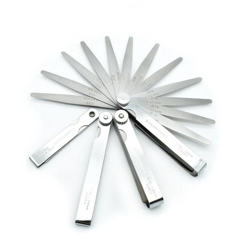 Gap Régua de Aço inoxidável 0.02-1mm Feeler Pedaço Pedaço 89mm Comprimento Metric Feeler Calibre Calibre de Enchimento 32 lâmina Ferramenta de Medição