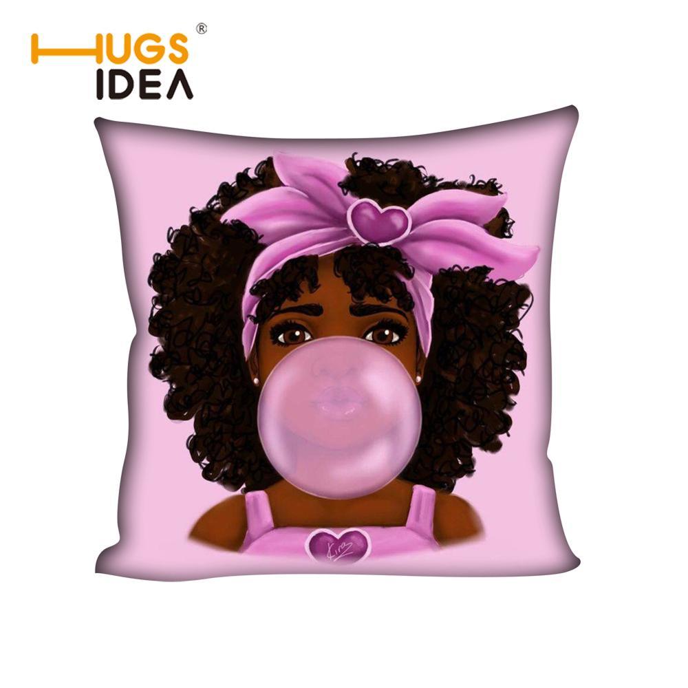 HUGSIDEA negro africano burbuja cojín para chica funda para sofá coche 45x45cm Afro Magic Girl funda de almohada decorativa rosa