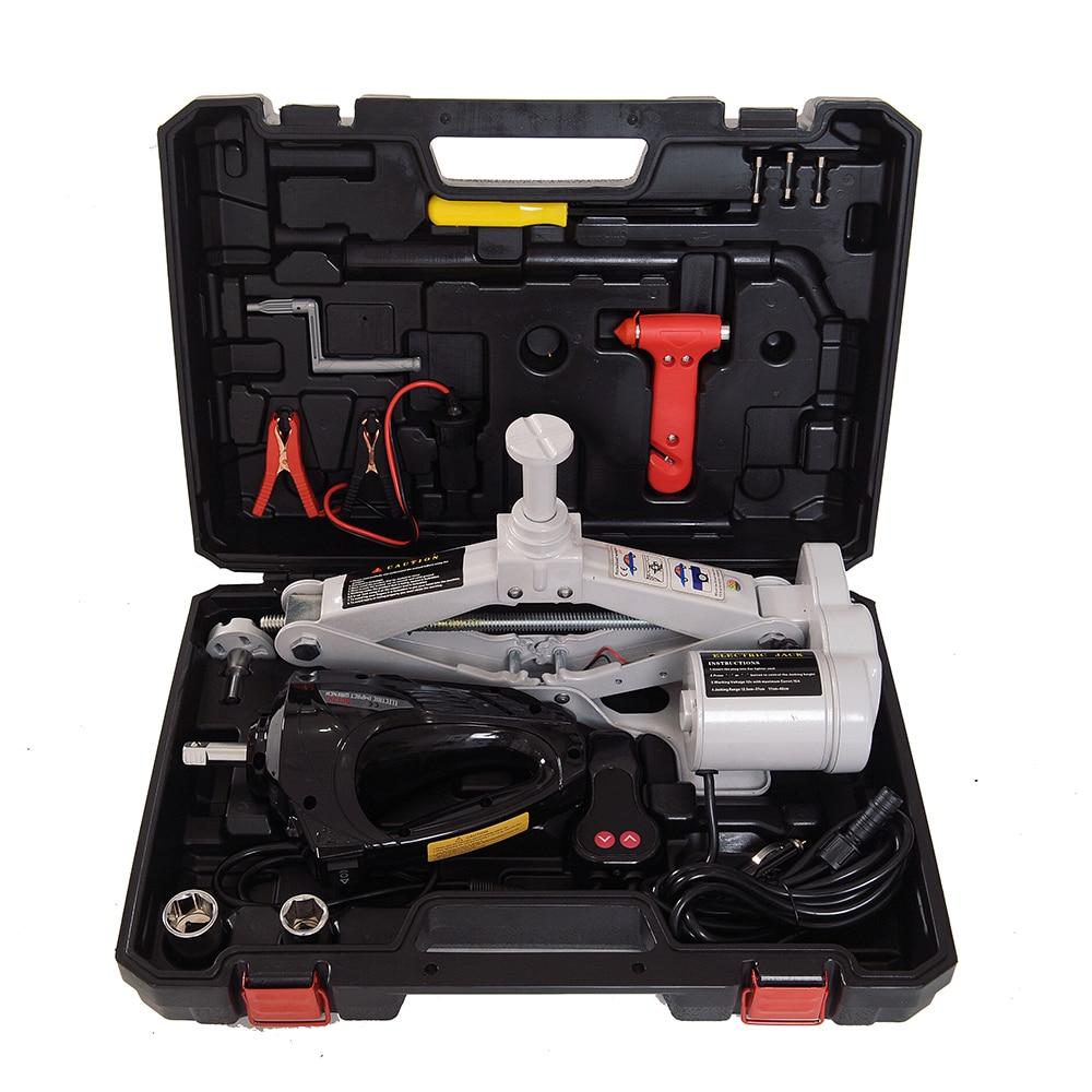 12V 3Ton Car Electric Jack Lifting SUV Emergency Equipment Tools with Black Impact Wrench Scissor Jack Gray QZ038