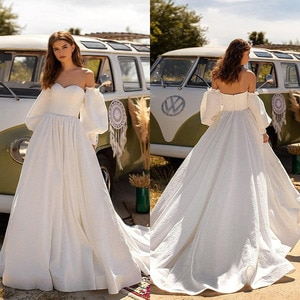SoDigne 2021 Boho Wedding Dresses with Detachable Long Sleeves Sweetheart Satin A Line Bridal Dress Beach Wedding Gowns