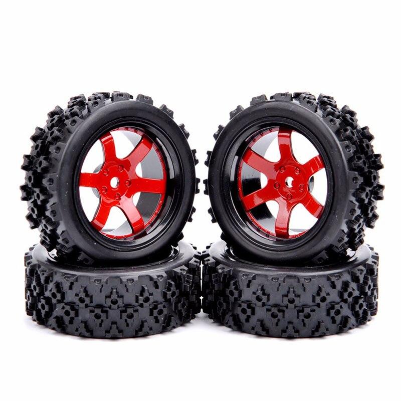 4Pcs 1/10 Rubber Tires Wheel 12mm Hex D6NKR+PP0487 For HSP HPI RC 1:10 Off Road Racing Car enlarge