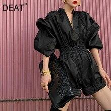 DEAT Streetwear gaine lanterne manches col en V pleine manches taille haute Pure femmes mince robe noire 2020 automne hiver nouveau TD323