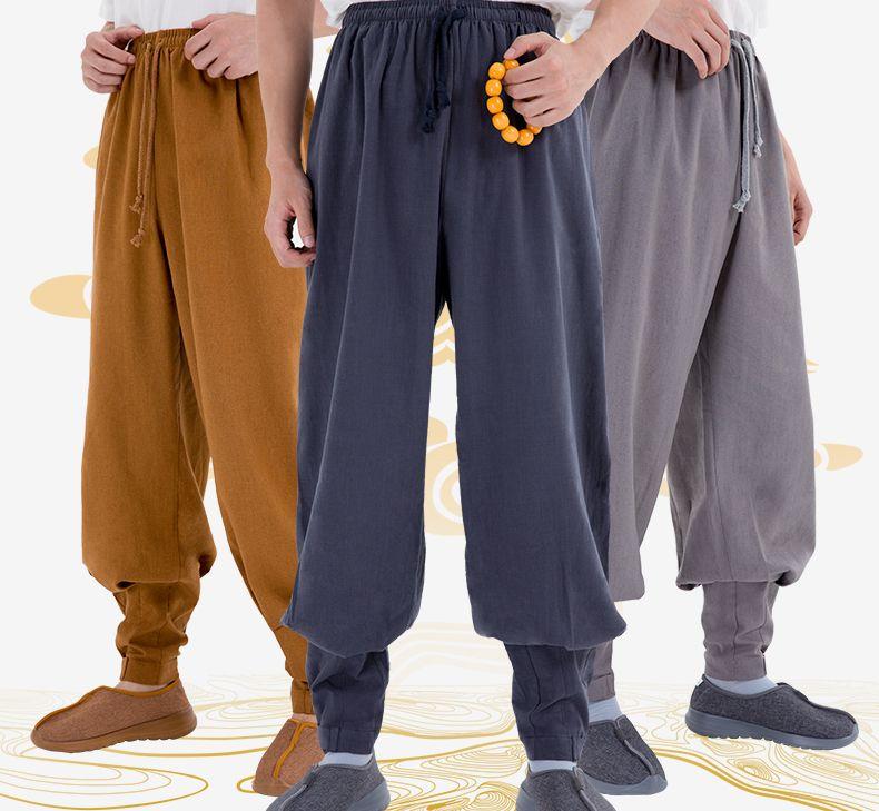 Ropa de alta calidad unisex shaolin monks kung fu Bloopers budista budda lay pantalones de meditación zen Pantalones gris/amarillo