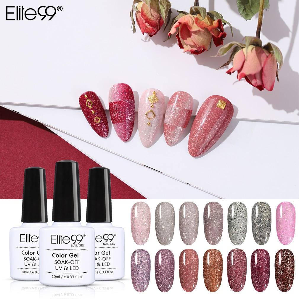 Elite99 10ml Laser Shimmer Gel Varnish Glitter Nails UV Hybrid Nail Art Manicure Gel Polish Soak Off Primer Gel Nail Polish