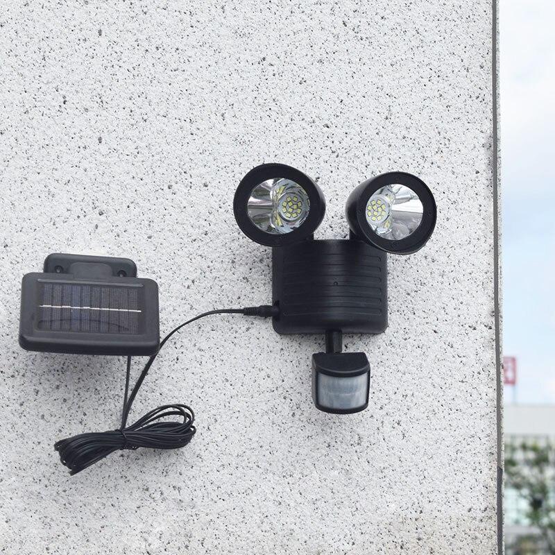 Solar double head wall lamp LED human body induction lamp outdoor waterproof garden landscape road solar light