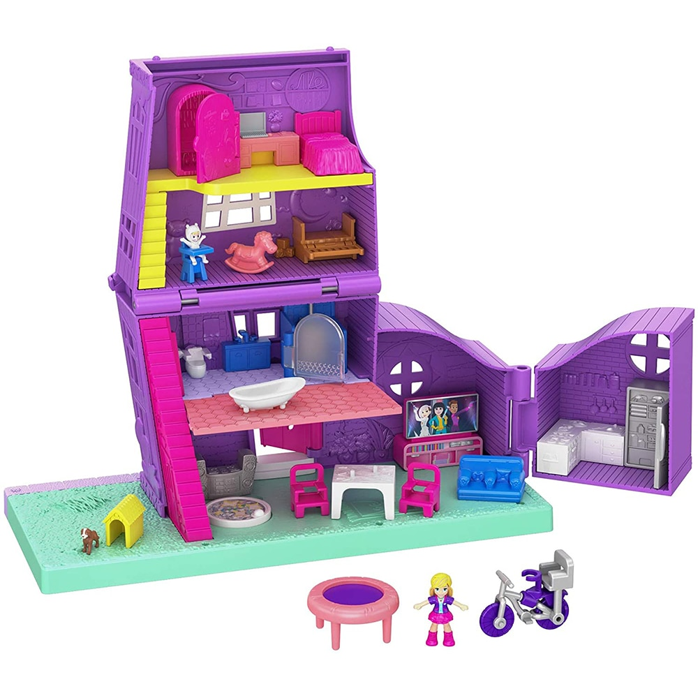 GFP42 Polly Ville House 2 Stories 10 Accessories & Micro DollsKids Christmas Gift Present for inspire imaginations Multicolour