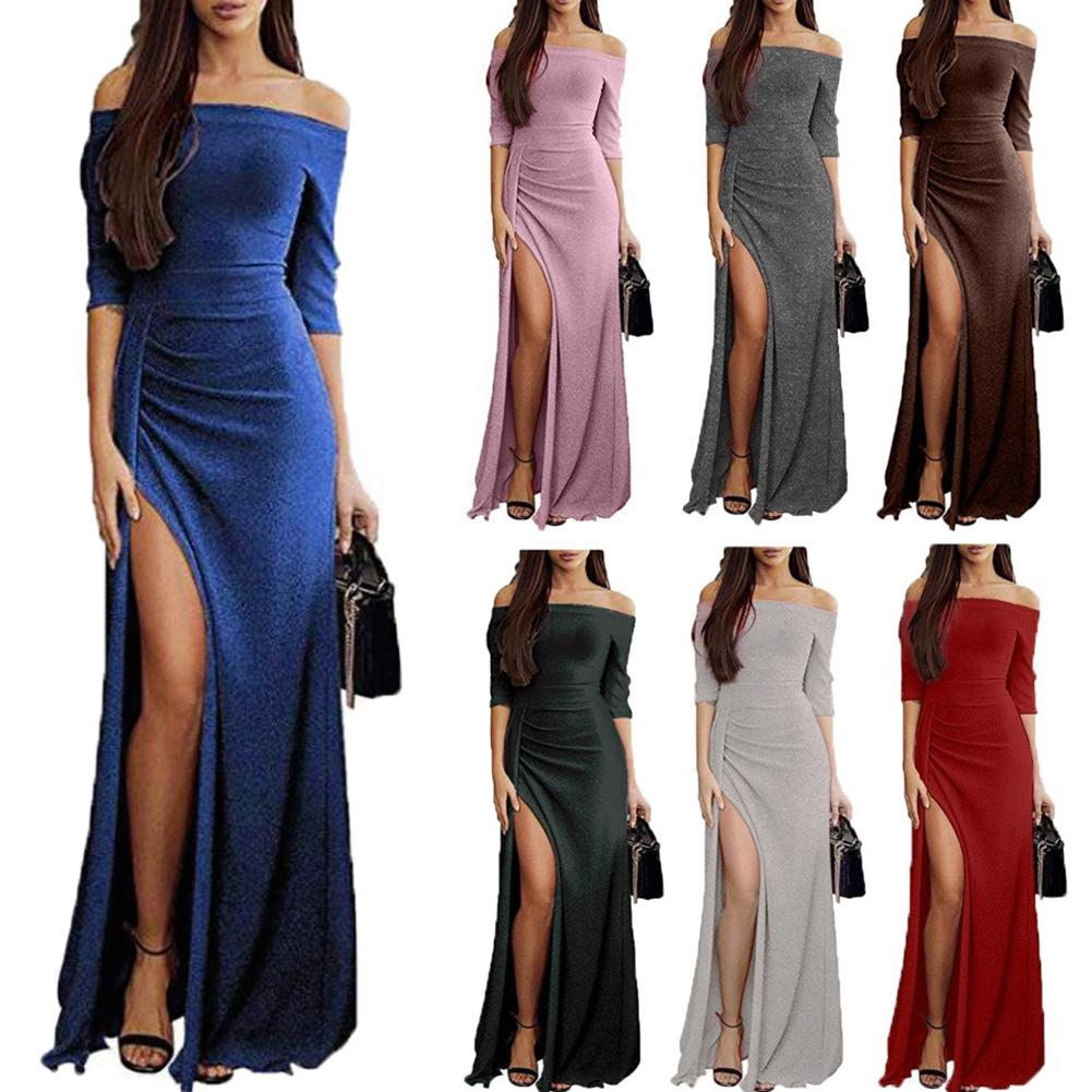 Fashion Night Party Cocktail Prom Sexy Women Ladies Solid Color High Split Off Shoulder Long Maxi Dr