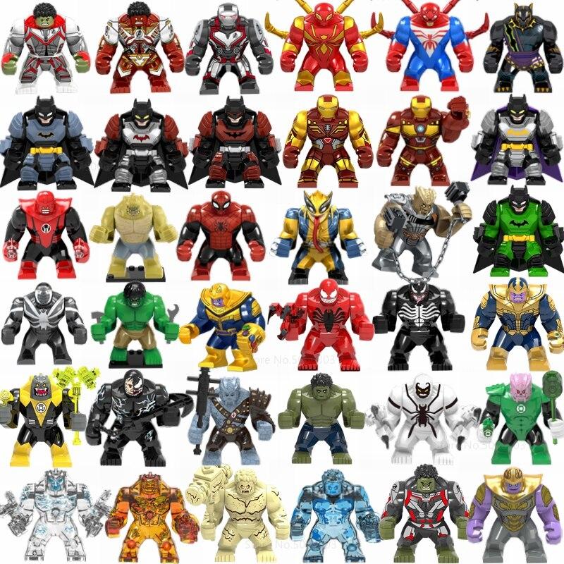 Marvel Мстители танос Железный человек Халк Человек-паук Бэтмен Росомаха строительные блоки фигурки из фильма Супер Герои игрушки для детей