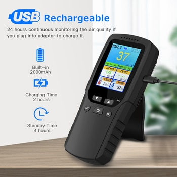 Indoor/Outdoor Handheld Air Quality Analysis Tester DM106A Smog/Dust/Formaldehyde Air Quality Detector Analyzer Measuring Tool