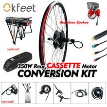 36V 350W eBike Conversion Kit Cassette Geared Wheel Hub Motor kt Display Electric Bike Bicycle ebike Conversion Kit for Bicycle