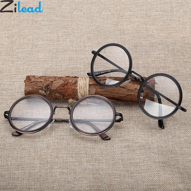 Zilead Retro gafas redondas marco hombres mujeres lente transparente Optical Sepectacles gafas simples gafas Unisex