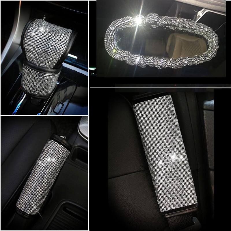 Full Diamond Crystal Car Gear Shift Collar Cover Glitter Rhinestones Auto Shifter Hand Brake Covers Car Interior Accessories