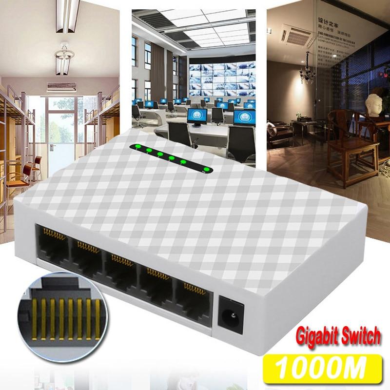 Switch de Rede Hub de Comutação Mini Desktop Mbps Gigabit Rápido Rj45 Ethernet Switcher Lan Adaptador Troca Duplex Completo 5-port 1000