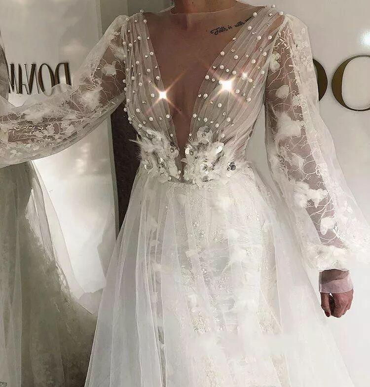 MYYBLE 2022  Boho Wedding Dress Elegant A Line Poet Long Sleeves Country Garden Formal Bride Bridal Gown Custom Made Plus Size