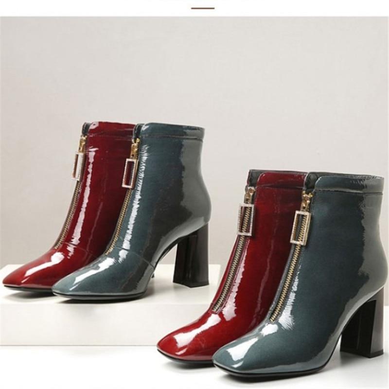 Botines de tacón alto con cremallera delantera para mujer, botas cortas con...