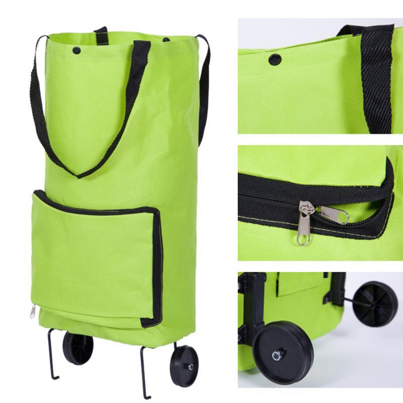 Dobrável multifuncional carrinho saco de compras carrinho carrinho trole rodas caso reutilizável portátil moda tug pacote luz grande capacidade