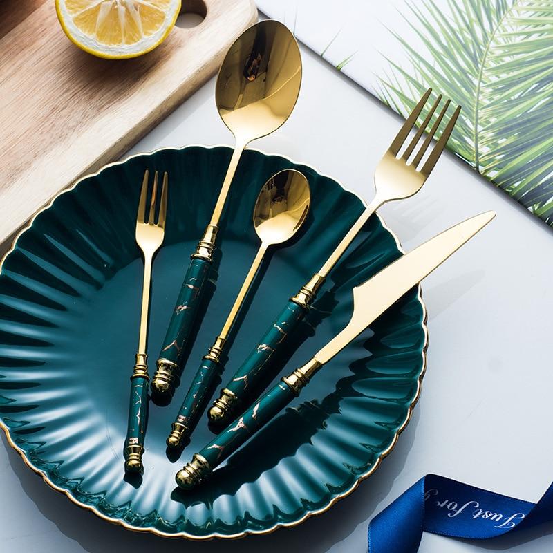 30 piezas vajilla de cerámica tenedor cuchara cuchillo Vintage juego de cubiertos de acero inoxidable 304 vajilla de cena conjunto envío gratis verde