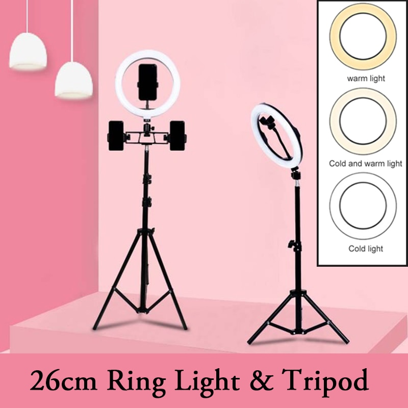 LED Ring light Photography Selfie Lamp USB Dimmable For Makeup Live Video Streaming Youtube Camera Stand Tripod 26cm RingLight