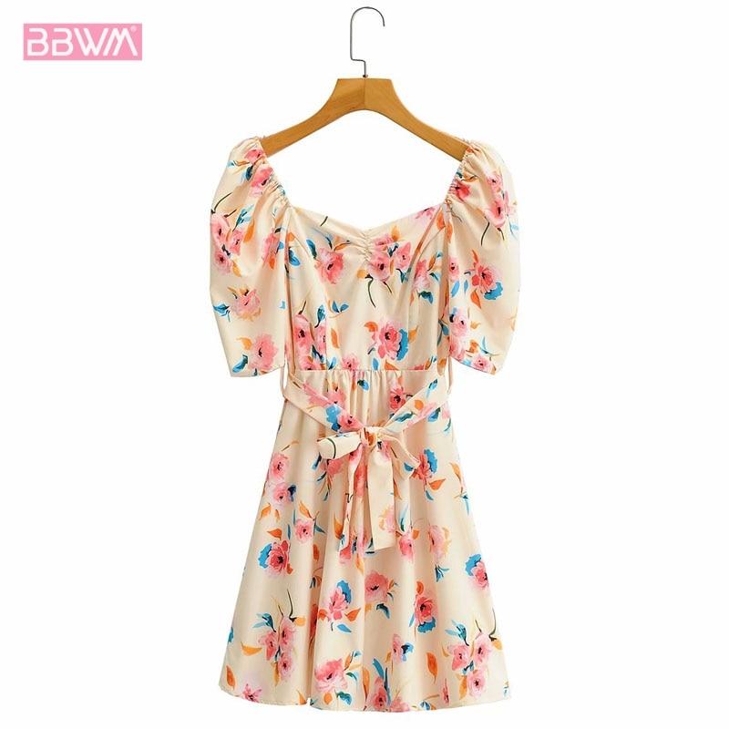 Spring New Square Collar Short Sleeve Women's Dress Vintage Slimming Belt with Floral Print Chic Female Dresses vintage floral print co ord with frill detail