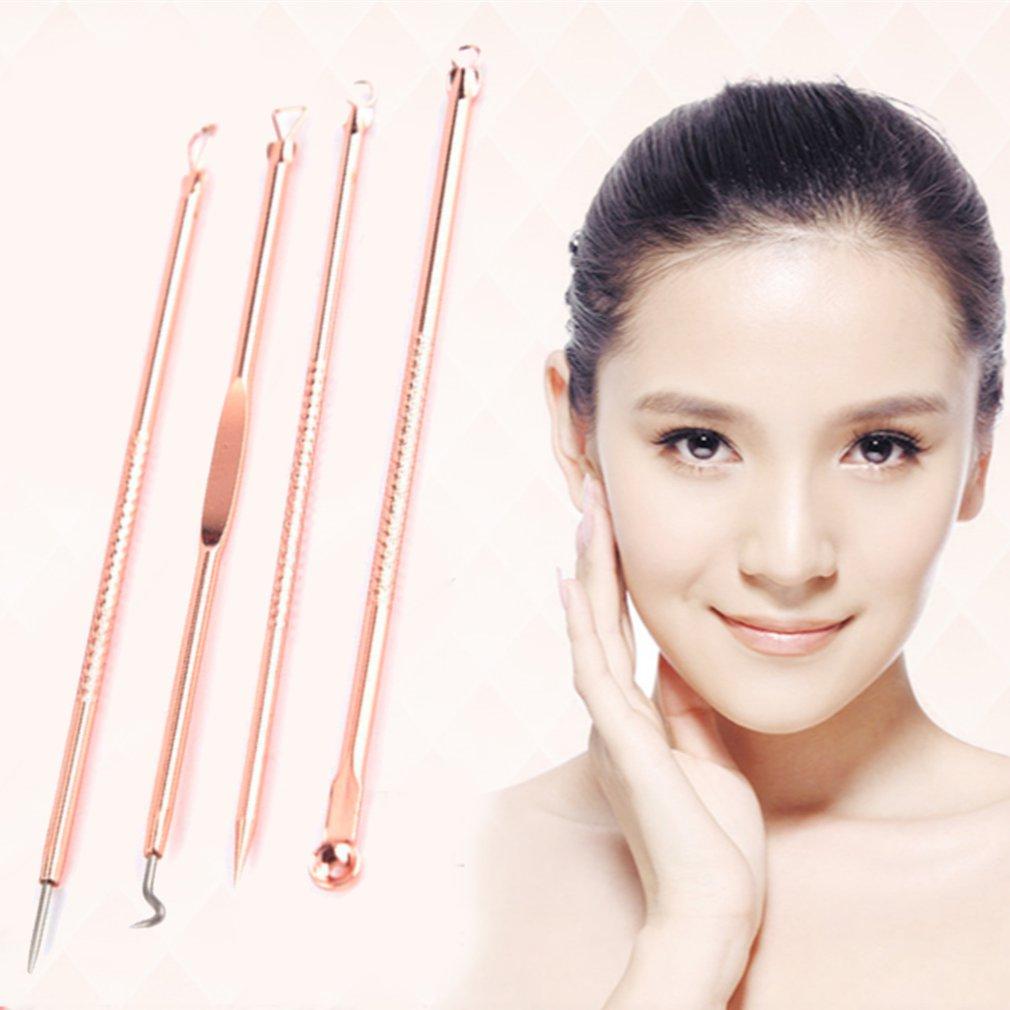 4Pcs/Set Rose Gold Acne Blackhead Removal Needles Pimple Spot Extractor Cleanser Beauty Face Clean C
